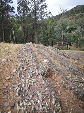 lines of rock on a hillside